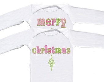 Christmas Twin Girl Rompers long sleeve bodysuits Infant Creepers Newborn Christmas Rompers Girly Tees