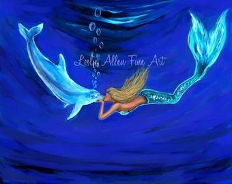 "Mermaid Art Print Mermaid Painting Art Print Dolphin Art Decor Mermaids Wall Art  ""Mermaid GIving Dolphin Loves""  Leslie Allen Fine Art"