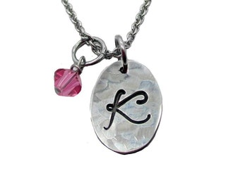 Hand Stamped Oval Initial Charm Necklace