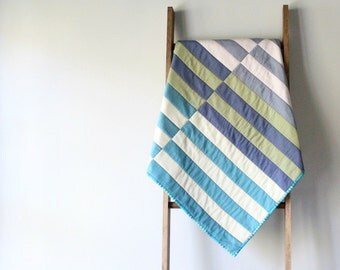 CUSTOM Modern Baby Boy or Girl Quilt, Baby Blanket, Crib Quilt, Stroller Blanket - Intersecting Stripes