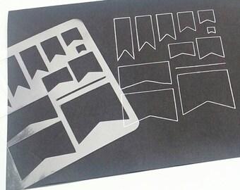 Planner stencil. Pennant Stencil. Planner decorations ECLP Filofax Kikki K Webster Pages Happy Planner Travelers Notebook Stencil -  Pennant