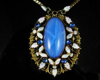 Czech Necklace Vintage Max Neiger 1920 ART Deco BLUE enamel glass Victorian Jewelry Brass filigree pendant