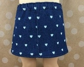 18 Inch Doll Clothes Handmade Skirt Dark Navy White Hearts Denim Straight Mini Girls Toy