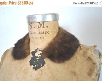 SALE Brown Mink Fur Collar / peter pan / small