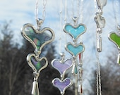 Baby Blue Glass Double Heart Necklace