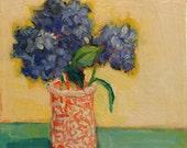 "First Lilacs - Original Acrylic Oil Encaustic Still Life Painting - 10""x 10"""