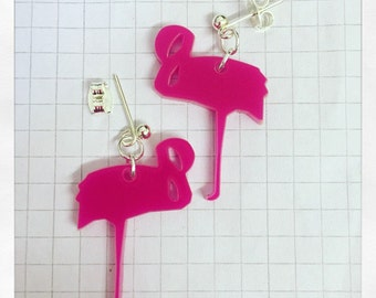 Laser Cut Acrylic Flamingo Earrings