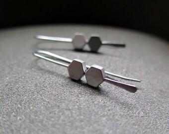stainless steel earrings. hypoallergenic jewelry. modern silver jewellery.