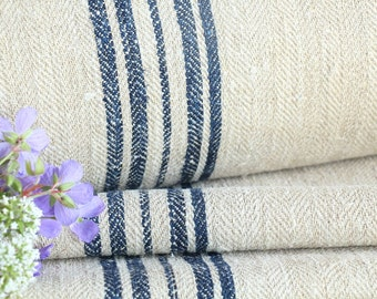 R 198 : antique handloomed INDIGO BLUE 6.33yards upholstery fabric stairrunner french lin