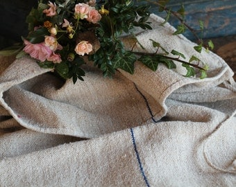Nr. A459 : grain sack,  antique linen; WATER BLUE;  pillow benchcushion;  wedding decoration; christmas, thanksgiving; gift bag
