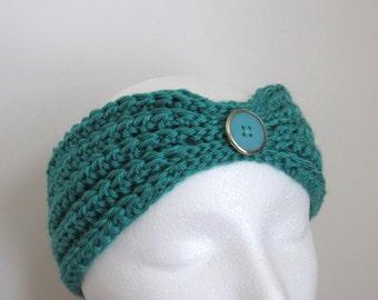 Ready To Ship - Ladies' Teal Ear Warmer - Women's Turquoise Ear Warmer -  Crocheted Teal Ear Warmer - Aqua Crochet Headband