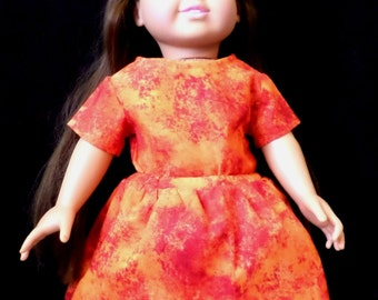 18 in Doll Short Sleeve Top and Skirt- Orange and Red Splatter Print