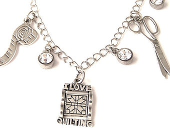 Quilting charm necklace, bling quilting, quilters, sewing necklace, I Love Quilting necklace with Swarovski crystal drops