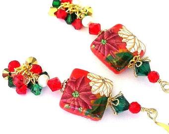 Poinsettia Christmas earrings, polymer clay Christmas earrings, polymer clay red flower earrings, Christmas cluster earrings, dangle