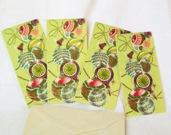 Vintage Christmas Cards Unused with Original Envelopes Light Green 1950s 1960s Mid Century Modern Glittered Glass Ornaments Paper Ephemera