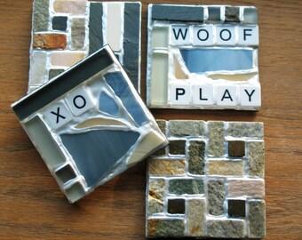 Stone Scrabble Coasters - Woof, Play & XO (Set of 4)
