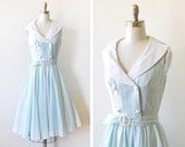 vintage mint striped dress, 80s does 50s dress, extra small cotton sundress