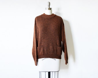 80s slouchy sweater, vintage brown and black ribbed sweater, pullover knit xl sweater with pockets