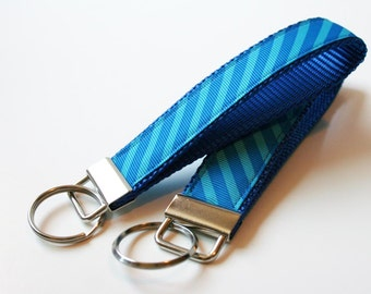 ON SALE Wristlet Key Chain - Turquoise Blue Key Fob
