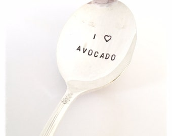 I LOVE AVOCADO  Spoon Hand Stamped Vintage Silver Plated Spoon