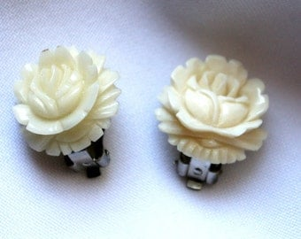 Vintage Carved Celluloid Clip On Earrings - Beautifully Made Flower