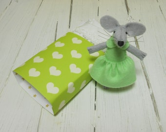 Tiny mouse plush in a matchbox tiny bed doll felted miniature felt animals soft sculpture stuffed plush hearts lime mint green minnie mouse