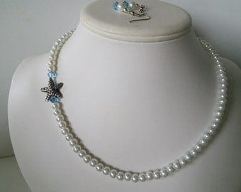 White Glass Pearls with Aqua Swarovski Crystals and Pewter Silver Starfish Pendant Necklace Set
