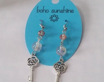 Boho Sunshine Key Charm Earrings Hypo-Allergenic Ear Hooks with Glass Sparkle Faceted Beads