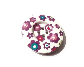 Purple flowers wooden sewing button 1.5 inch