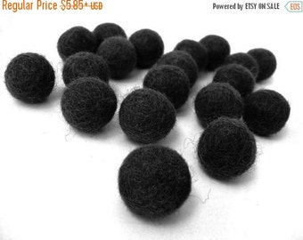 ON SALE 15% OFF Felt Balls Black - 20 Pure Wool Beads  (W213)