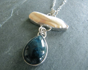 Pendant of Blue Apatite and Baroque Pearl in Sterling Silver