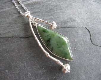 Sophisticated Pendant of BC Jade and Cast Dogwood Twig in Sterling Silver