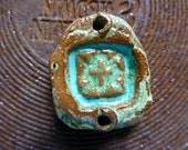 Rich Turquoise Boho Western Cross Jewelry Pendant Cuff Component Ceramic Clay Pottery