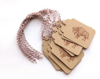 Buffalo Tags - Buffalo gift tags - buffalo Favor tags - buffalo party tags - native tags - hand stamped tags - scallop tags - oatmeal tags