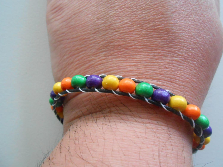 wrap bracelet with colorful wood orange by sashamcrafts