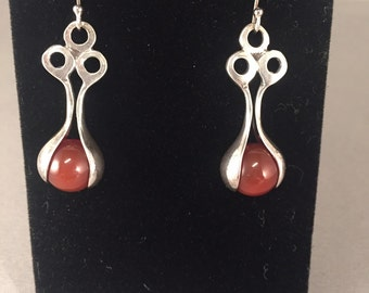 Red agate and silver drop earings