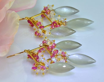 Pink Sapphire Moonstone Chandelier Earrings Moonstone Sapphire  14k Gold Fill Wire Wrapped Earrings