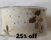 SALE 25% OFF - Burlap Ribbon - Botanical - 50mm - 3 metre length - Raw Edge - Leaves - Flowers