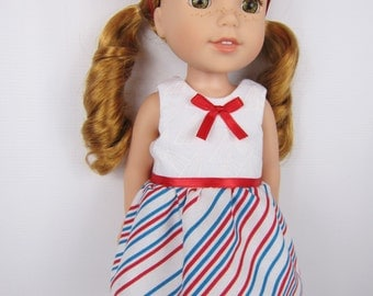 "14.5 inch doll clothes, Red white blue doll dress with hair ribbon, 14.5"" doll dress, handmade doll clothing, fashion doll dress"