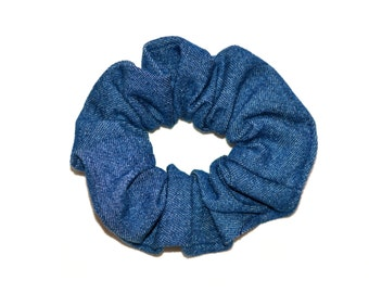 Denim Hair Scrunchie, Denim Scrunchie, Hair Scrunchie,blue Scrunchie,Handmade Scrunchie ,Denim hairband,Gift Under 10