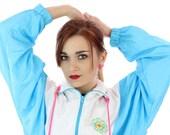 90s Windbreaker Jacket 80s Vintage Light Blue White Pink Colorblock Sport 1980s 1990s Workout Running Womens Small S Medium M