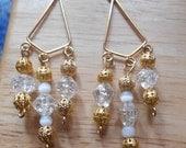1 DAY SALE Vintage Beads Dangle Earrings, Triangle Style, Pierced Ears