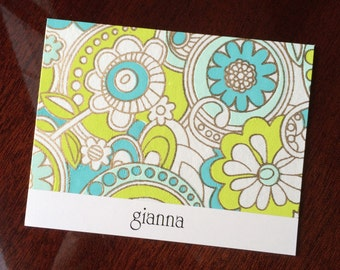 Personalized Stationery Inexpensive Gift Idea Custom Stationery by Lime Green Rhinestones