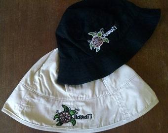 Honu Hawaii baby bucket cap, Turtle Hawaii, baby bucket cap, embroidered baby sunhat, sun hat for baby, embroidered baby hat cap