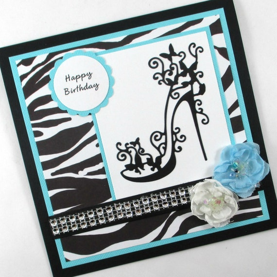 Happy Birthday Card High Heels Zebra Print Animal Print
