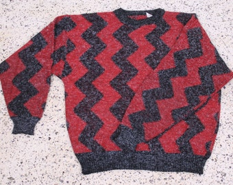 mens vintage chevron cosby sweater red + gray knit 1980s 1990s old school shirt top size large jumper pullover