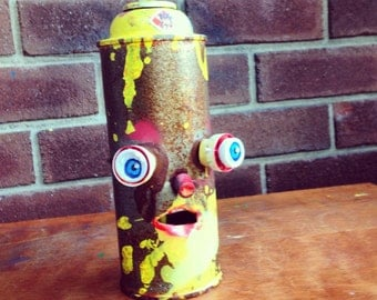 Recycled Spraypaint Assemblage Sculpture Graffiti Outsider Art Folk Art Handmade one of a kind