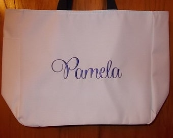 Set of 2 Personalized Embroidered Tote Bags Bridal Party Bridesmaid Gift
