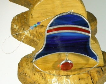 Indigo and red Bell Stained glass suncatcher, Christmas tree ornament and window decoration