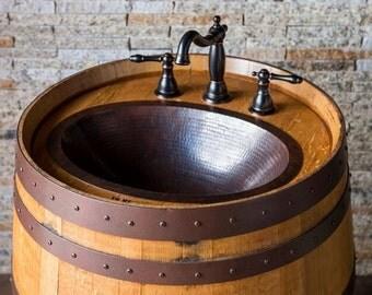 Wine Barrel Vanity with Hammered Copper Sink